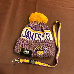 Brand new LeBron James beanie and LAL lanyard